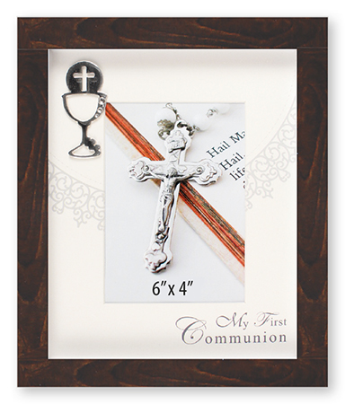 First Communion Photo Frame Brown Finish Symbolic