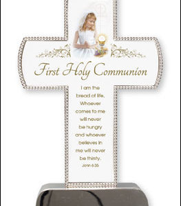 First Communion Silver Plated Cross Girl - 6 inch