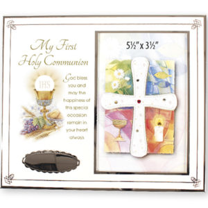 First Communion Symbolic White Enamel Photo Frame with Silver Plated Engraving Plate