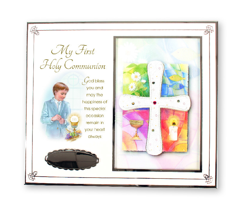 First Communion Boy White Enamel Photo Frame with Silver Plated Engraving Plate