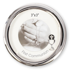 First Communion Metal Photo Frame Polished Silver Finish