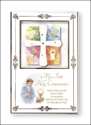 First Communion Boy White Enamel Photo Frame with Silver Plated Engraving Plate  1