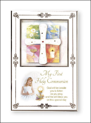 First Communion Girl White Enamel Photo Frame with Silver Plated Engraving Plate