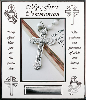 First Communion Photo Frame White Enamel Finish