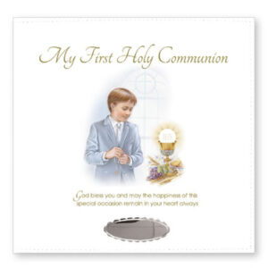 First Communion Leatherette Photo Album Boy with Silver Plated Engraving Plate