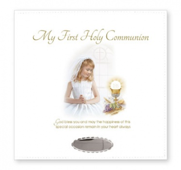 First Communion Leatherette Photo Album Girl with Silver Plated Engraving Plate