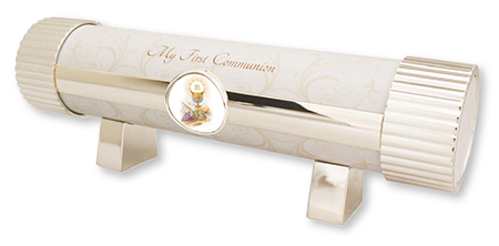 First Communion Silver Plated Metal Communion Certificate Holder - Girl