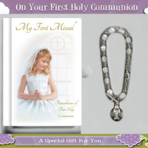 First Communion Gift Set Girl With Hardback Book and Rosary Bracelet