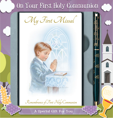 First Communion Boy Gift Set Book & Pen