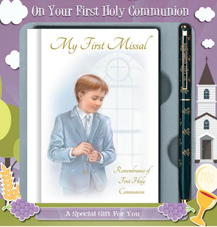 First Communion Boy Gift Set with Prayer Book & Pen 1