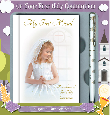 First Communion Girl Gift Set with Prayer Book & Pen 1