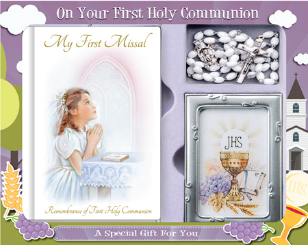 First Communion Gift Set Girl with Hardback Book, Photo Frame & White Rosary Bead