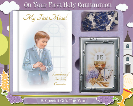 First Communion Gift Set Boy with Hardback Book, Photo Frame & Blue Rosary Bead