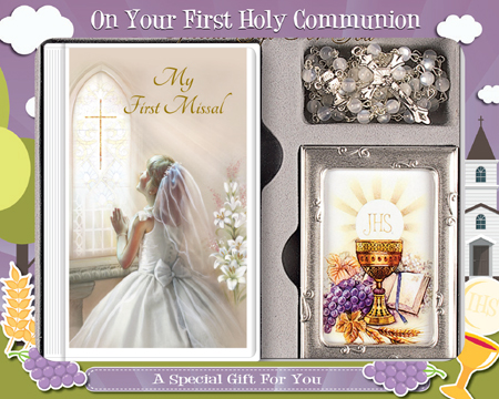 First Communion Gift Set Girl with Hardback Book, Photo Frame & Crystal Rosary Bead