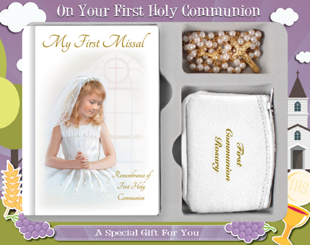 First Communion Gift Set Girl with Hardback Book, White Rosary Purse & Imitation Pearl Bead