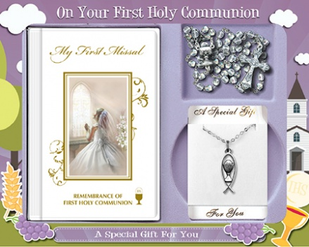 First Communion Gift Set Girl with Hardback Book, Crystal Bead & Chalice Motif on Chain 1
