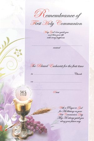 First Communion Certificate Symbolic
