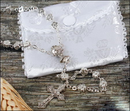 Communion Rosary - Metallised Silver with White Embroidered Fabric Purse