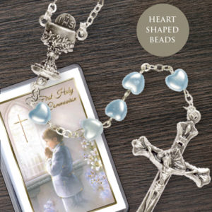 Communion Rosary Heart Shaped Bead Blue