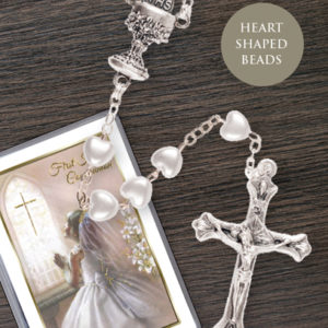 Communion Rosary Heart Shaped Bead White