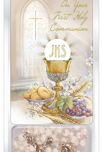 First Communion White Acrylic Rosary Bead with Laminated Prayer Card