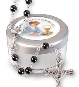 Communion Glass Rosary Imitation Hematite