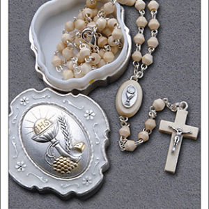 Communion Wood Rosary With Metal Box