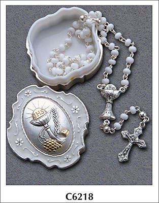 Communion Glass Rosary Bead With Metal Box