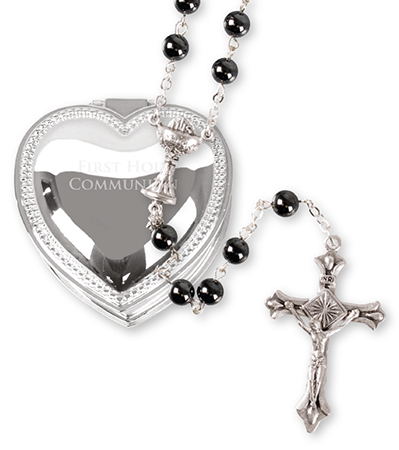 Imitation Hematite Rosary - Metal Heart Box