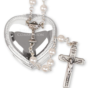 Imitation Cream Pearl Rosary - Metal Heart Box