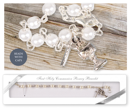 Communion Rosary Bracelet Acrylic Pearl