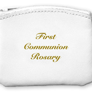 Communion Rosary Purse White Bonded Leather