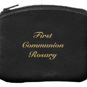 Communion Rosary Purse Black Bonded Leather