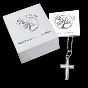 """First Communion Sterling Silver Polished Plain Cross 3/4 """" With 18 """" Chain."""