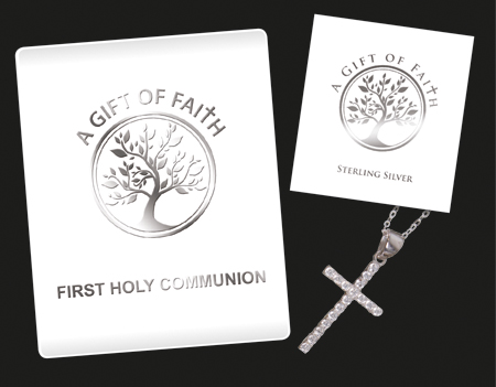 """First Communion Sterling Silver Cross 1 """" With Crystal Stones & 18 """" Chain."""