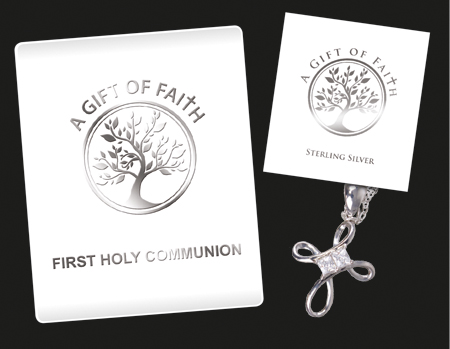 """First Communion Sterling Silver Open Cross 3/4 """" With Crystal Stones and 18 """" Chain."""