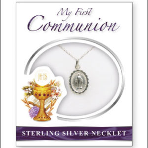 """First Communion Sterling Silver Miraculous Medal Size 1/2 """" with 18 """" Chain"""