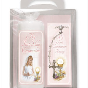Communion Candle 6 inch Gift Boxed Girl Rosary
