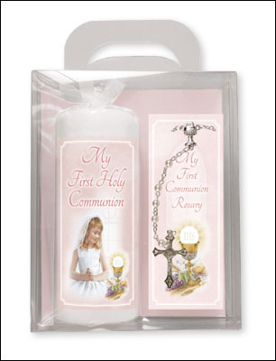 Communion Candle 6 inch Gift Boxed Girl Rosary 1