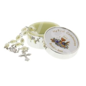 SILVERPLATED ROSARY BOX - FIRST HOLY COMMUNION