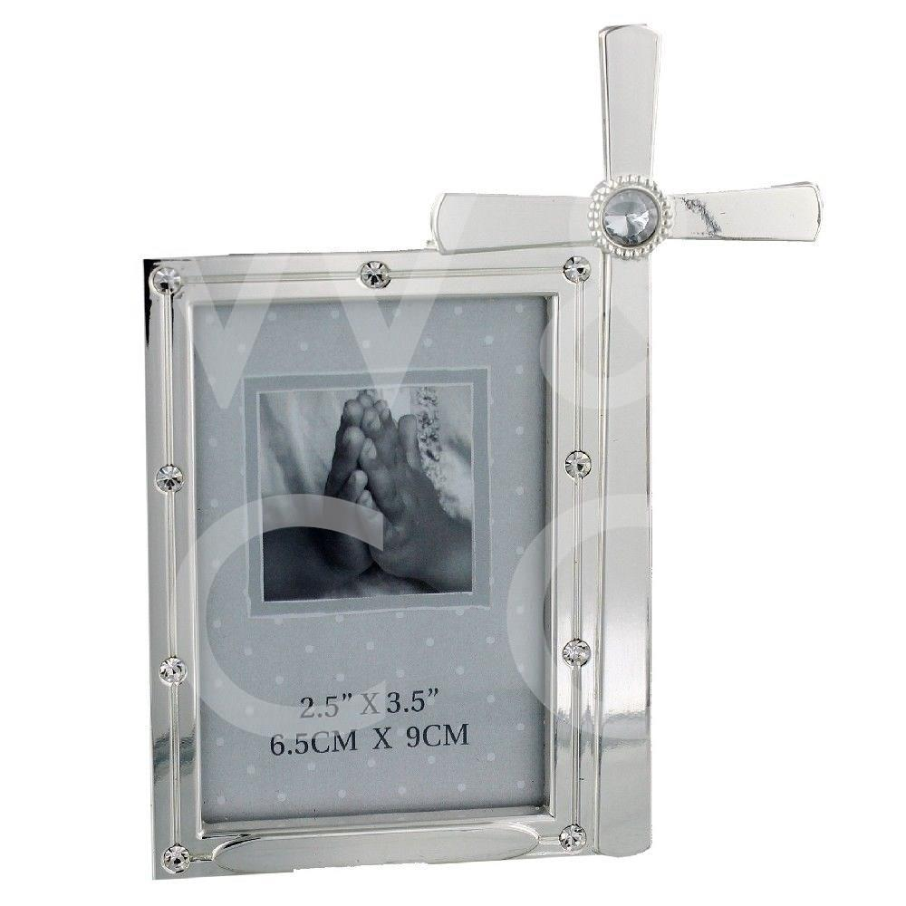 """SILVER PLATED PHOTO FRAME WITH CRYSTAL - CROSS - 2.5"""" X 3.5""""."""