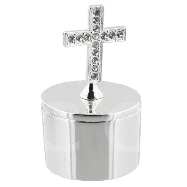 BLESS THIS CHILD SILVERPLATED CROSS TRINKET BOX 1