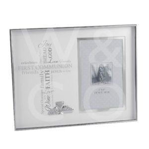 "NICKEL PLATED PHOTO FRAME - COMMUNION - 4"" X 6""."