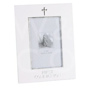 """SILVER FOILED PHOTO FRAME - FIRST COMMUNION - 4"""" X 6"""" -"""