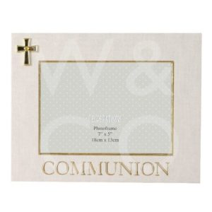 "LINEN LOOK FRAME CROSS ICON - COMMUNION - 7"" X 5""."