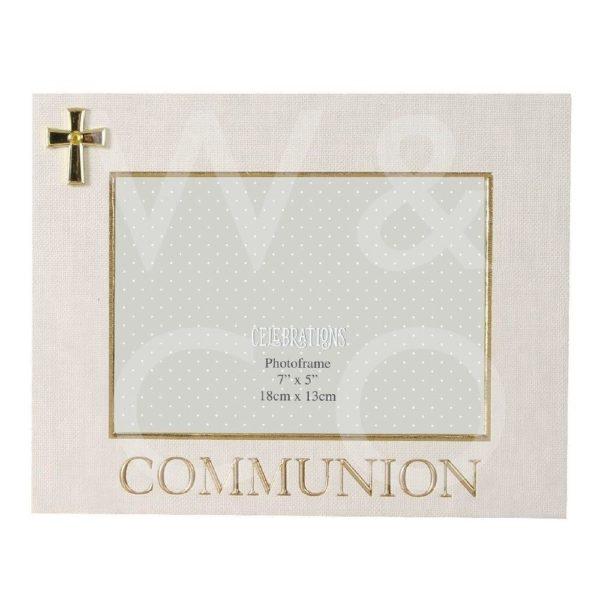 LINEN LOOK FRAME CROSS ICON – COMMUNION – 7″ X 5″