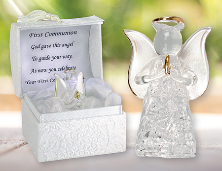 First Communion Glass Angel Gold Highlights