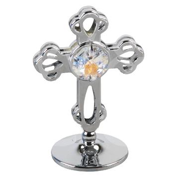 CRYSTOCRAFT CHROME PLATED CROSS ORNAMENT