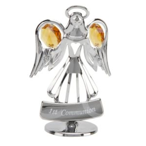 CRYSTOCRAFT CHROME ANGEL ORNAMENT - FIRST COMMUNION
